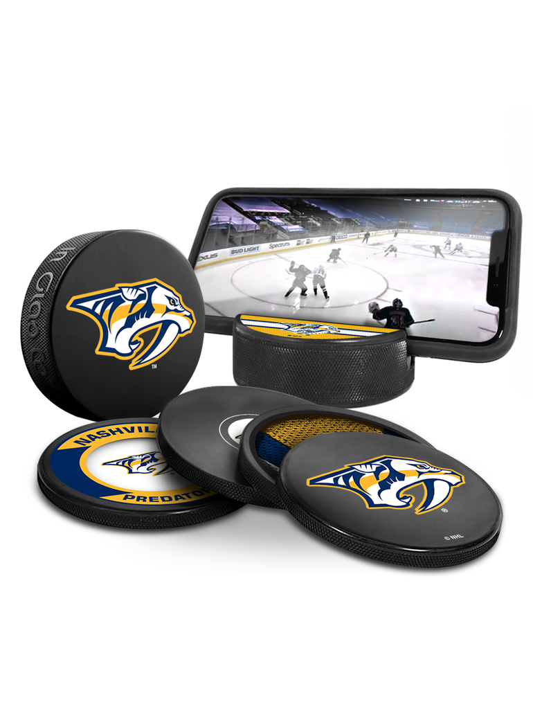 NHL Nashville Predators Ultimate Fan 3-Pack. Includes: 1 NHL Official Classic Souvenir Hockey Puck / 4 Coasters / 1 Media Device Holder