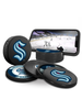 NHL Seattle Kraken Ultimate Fan 3-Pack. Includes: 1 NHL Official Classic Souvenir Hockey Puck / 4 Coasters / 1 Media Device Holder