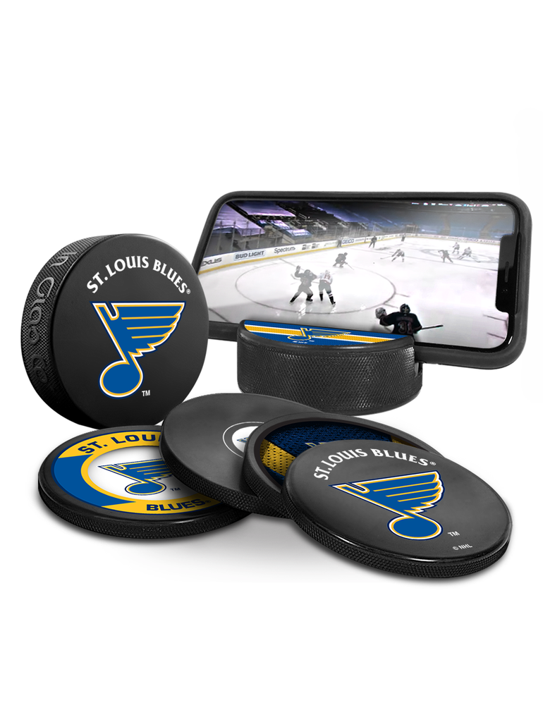 NHL St. Louis Blues Ultimate Fan 3-Pack. Includes: 1 NHL Official Classic Souvenir Hockey Puck / 4 Coasters / 1 Media Device Holder