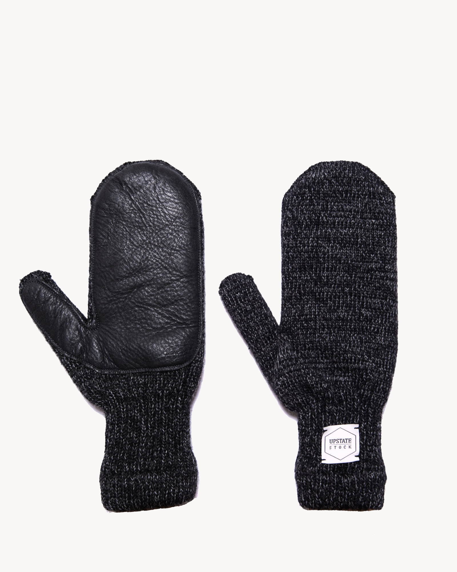 Upstate Stock - Black Melange Ragg Wool Mitten with Black Deer Skin L/XL