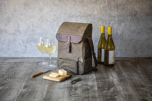Picnic Time - 2 Bottle Insulated Wine & Cheese Bag - Khaki Waxed Canvas