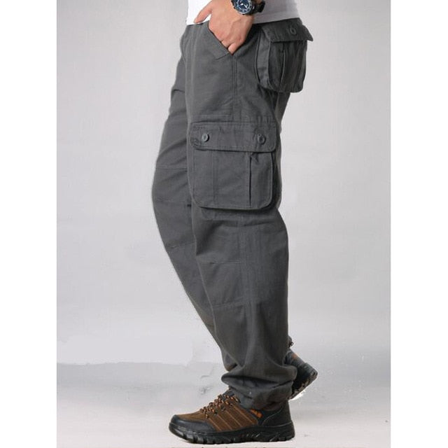 Men's Cargo  Multi Pockets Military Tactical Pants Men Outwear Straight slacks Long Trousers Large size 42 44