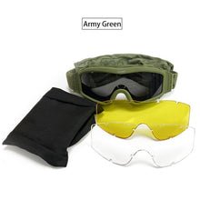 Load image into Gallery viewer, Black Tan Green Tactical Goggles Military  3 Lens / Paintball Motorcycle Windproof Wargame Glasses