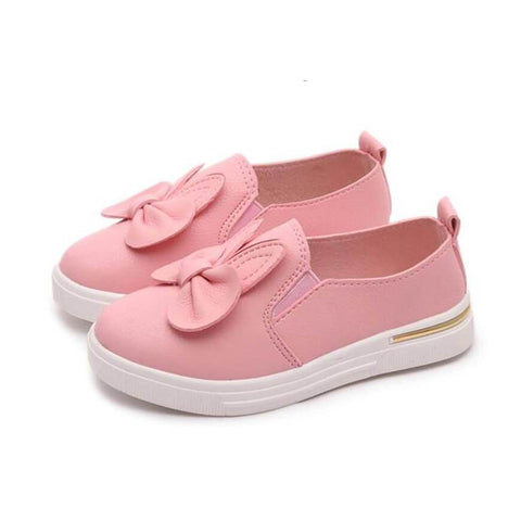 Leather Bow Slip-On Sneakers