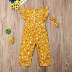 Floral Mustard Ruffled Jumpsuit