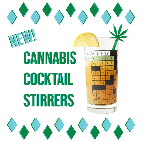 New! Cannabis Cocktail Stirrer.  Tall glass with a lemon wedge and a pot leaf drink stirrer .