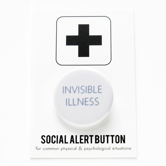 Round pinback button that says INVISIBLE ILLNESS. Thin blue text on a white background.