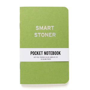 Moss green pocket notebook that says SMART STONER in  iridescent silver text.