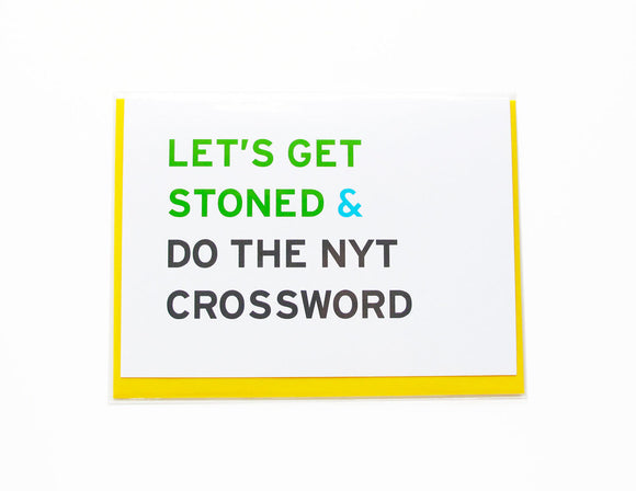 SMART STONER NYT CROSSWORD cannabis greeting card