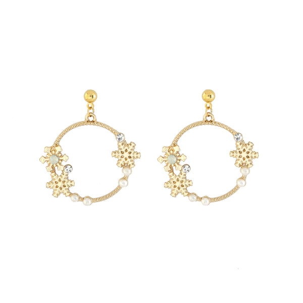 Snowy Circle Gold Earrings