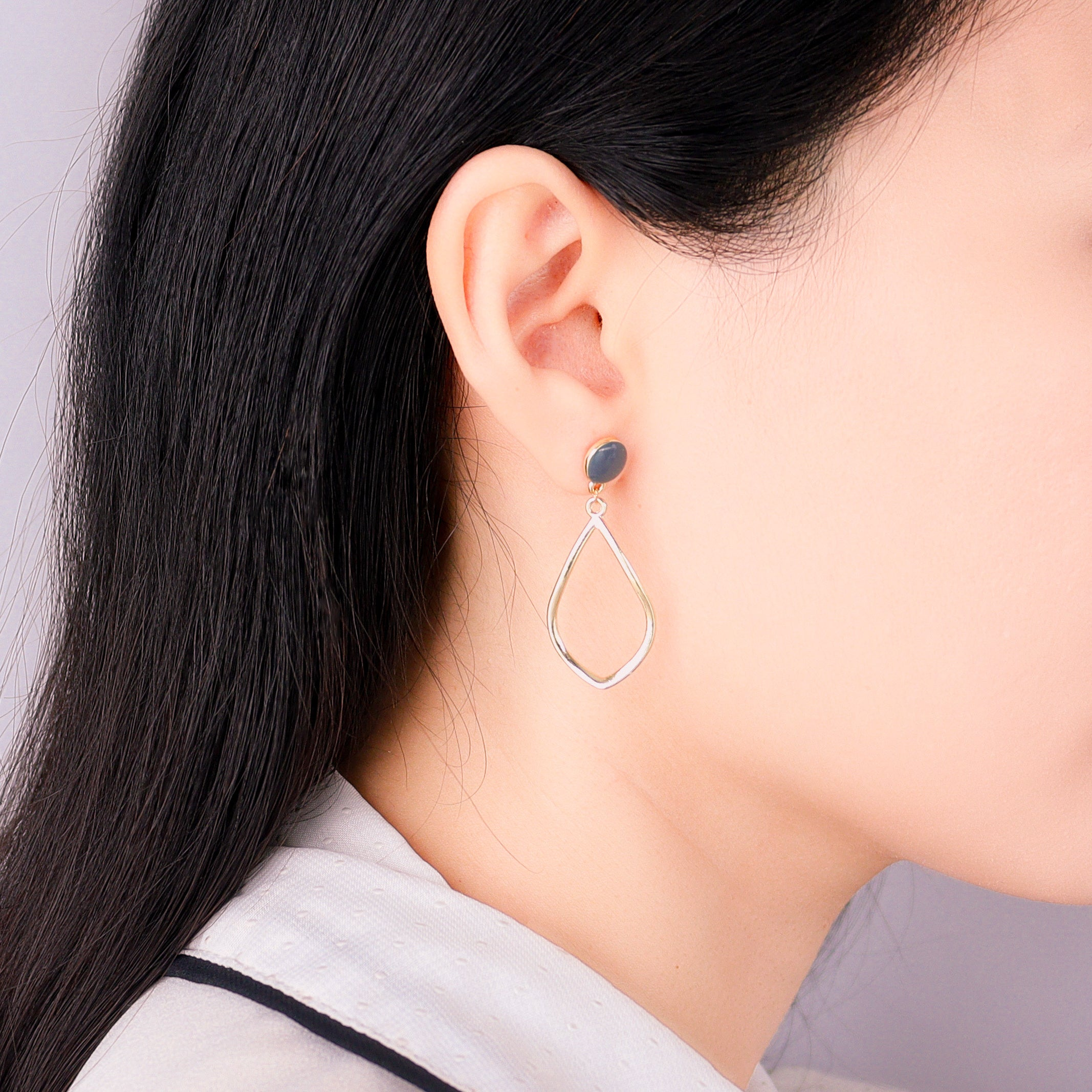Golden Elliptical Earrings