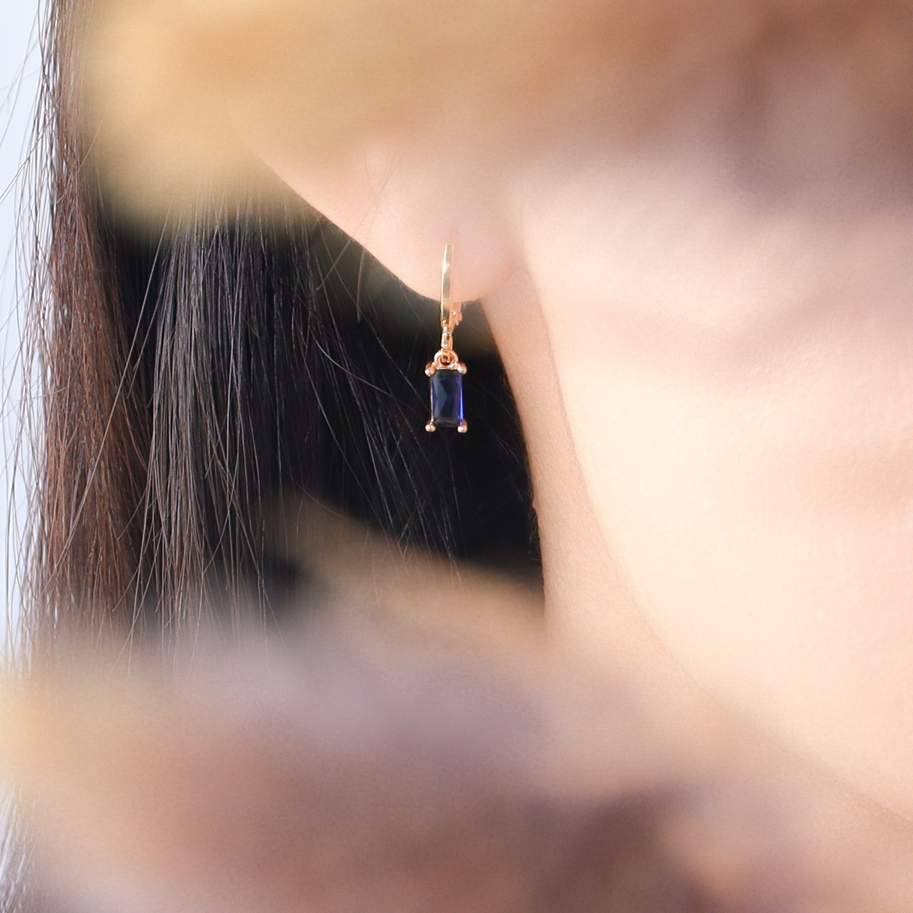 Sapphire Touch Huggies Earrings