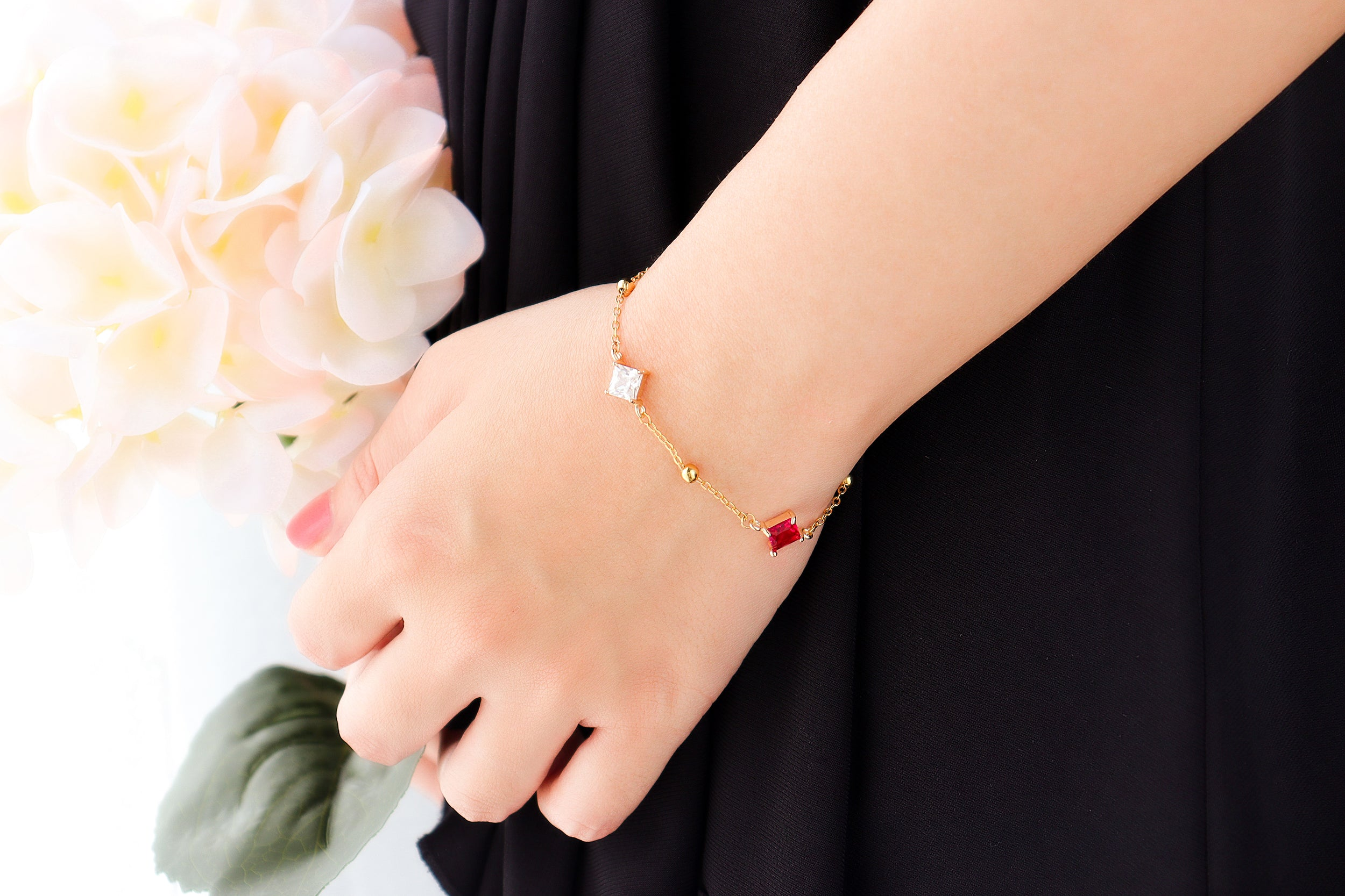 Ruby Checker Gold Bracelet