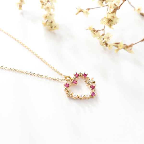 Flower Wreath Gold Necklace