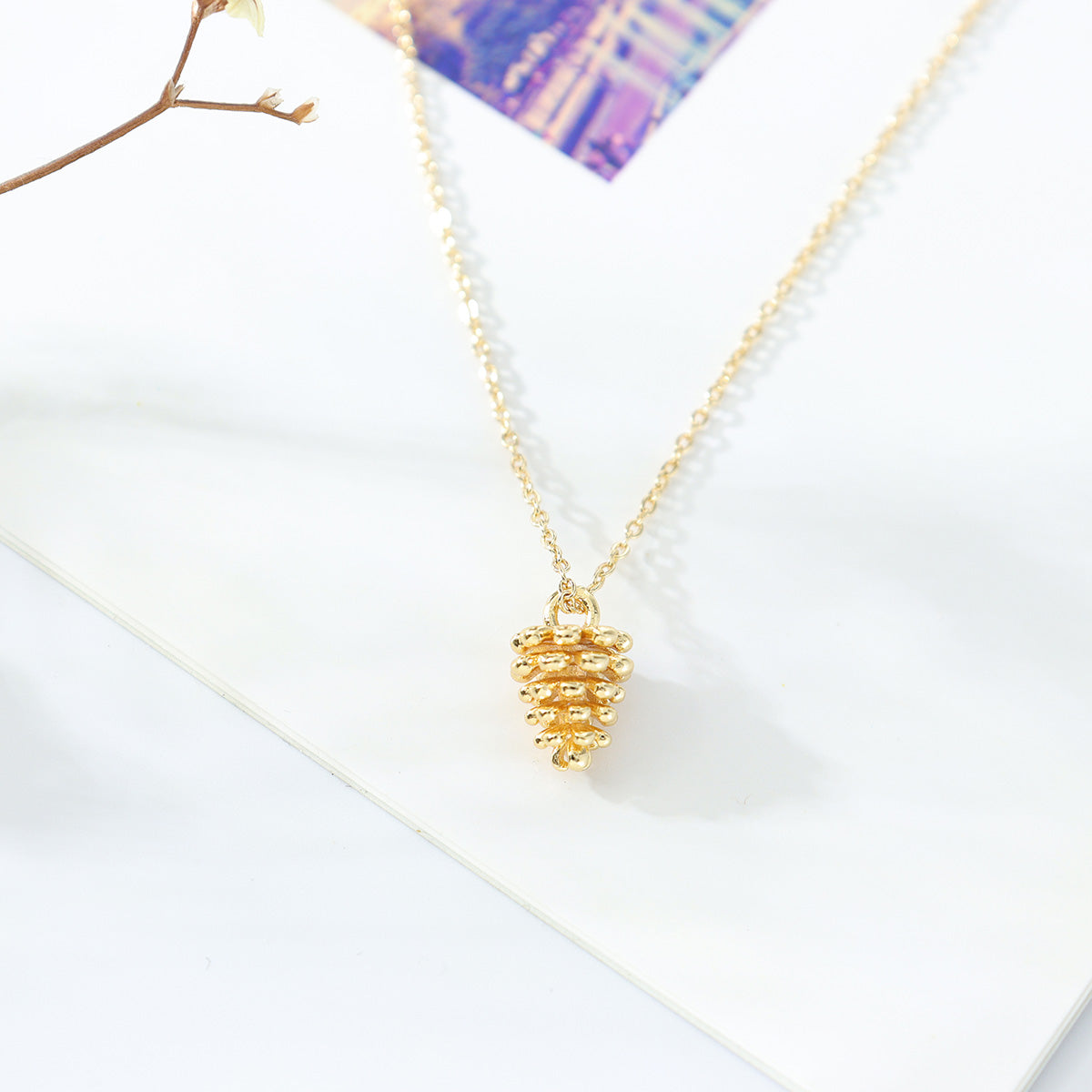 Pine Nut Gold Necklace