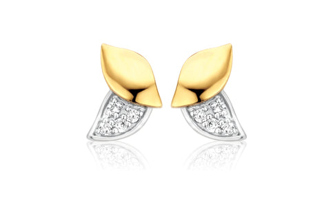 Boucles d'oreilles or bicolore et diamants