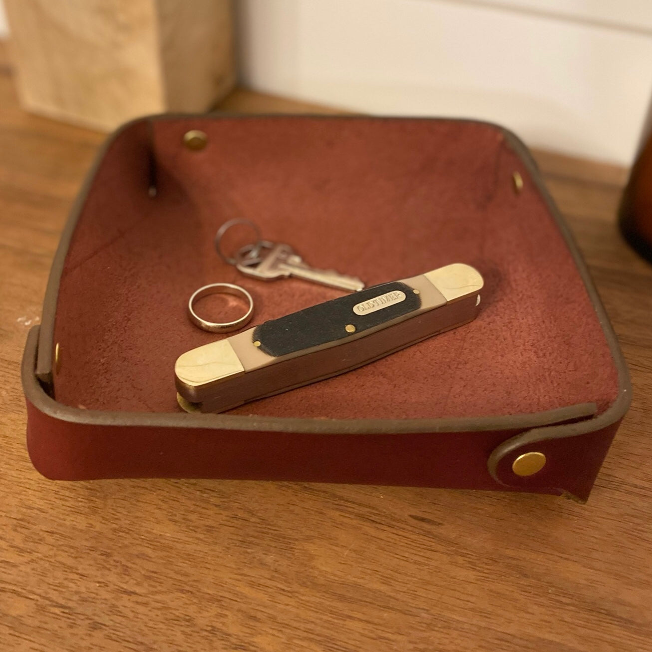 Burgundy Leather Valet Tray