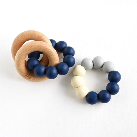 Tiny Inspirations - Rattle Teether Trio - Denim