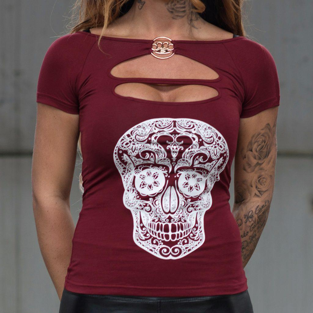 MVL Skull top - bordeaux red