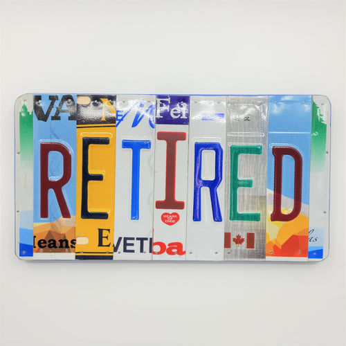 Retired Repurposed License Plate Sign