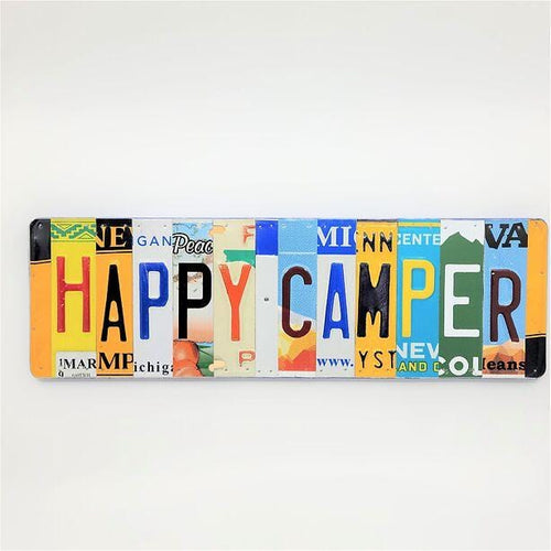 Happy Camper Repurposed License Plate Sign