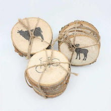 Load image into Gallery viewer, Wood Slice Stamped Coasters - Bicycle, Cow and Moose