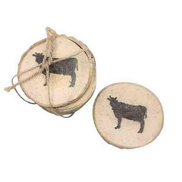 Wood Slice Stamped Coasters - Cow