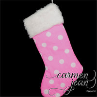 Pink with white polka dots Christmas Stocking
