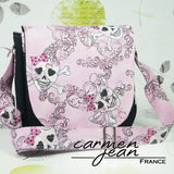 Sandra Saddle Bag - Pink Skulls