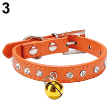 Load image into Gallery viewer, Faux Leather Diamante Cat Dog Puppy Adjustable Safety Pet Collar Buckle Bell