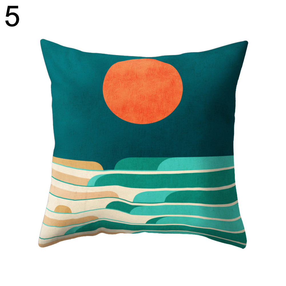Colorful Sunrise Pillow Case Waist Support Cushion Cover Car Home Sofa Decor