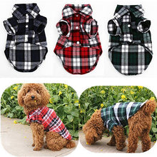 Load image into Gallery viewer, Small Pet Dog Plaid Shirt Lapel Coat Cat Jacket Clothes Costume Top Apparel