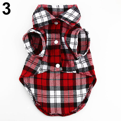 Small Pet Dog Plaid Shirt Lapel Coat Cat Jacket Clothes Costume Top Apparel