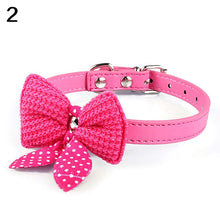 Load image into Gallery viewer, Cute Knitted Bowknot Adjustable Faux Leather Dog Puppy Pet Cat Collar Necklace