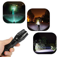 Load image into Gallery viewer, Super Bright Outdoor Tactical 5 Mode Flashlight T6 LED Zoomable Torch Lamp Light