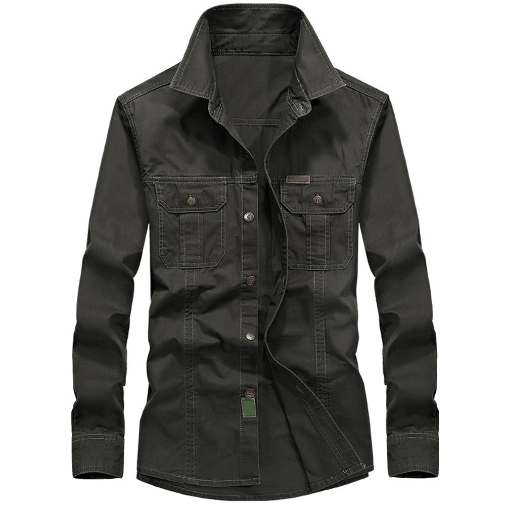 Men Turn Down Collar Breathable Long Sleeve Autumn Casual Army Military Shirt