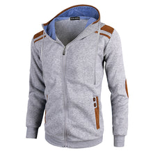 Load image into Gallery viewer, Casual Men Long Sleeve Jacket Coat Faux Deerskin Patchwork Hooded Sweatshirt