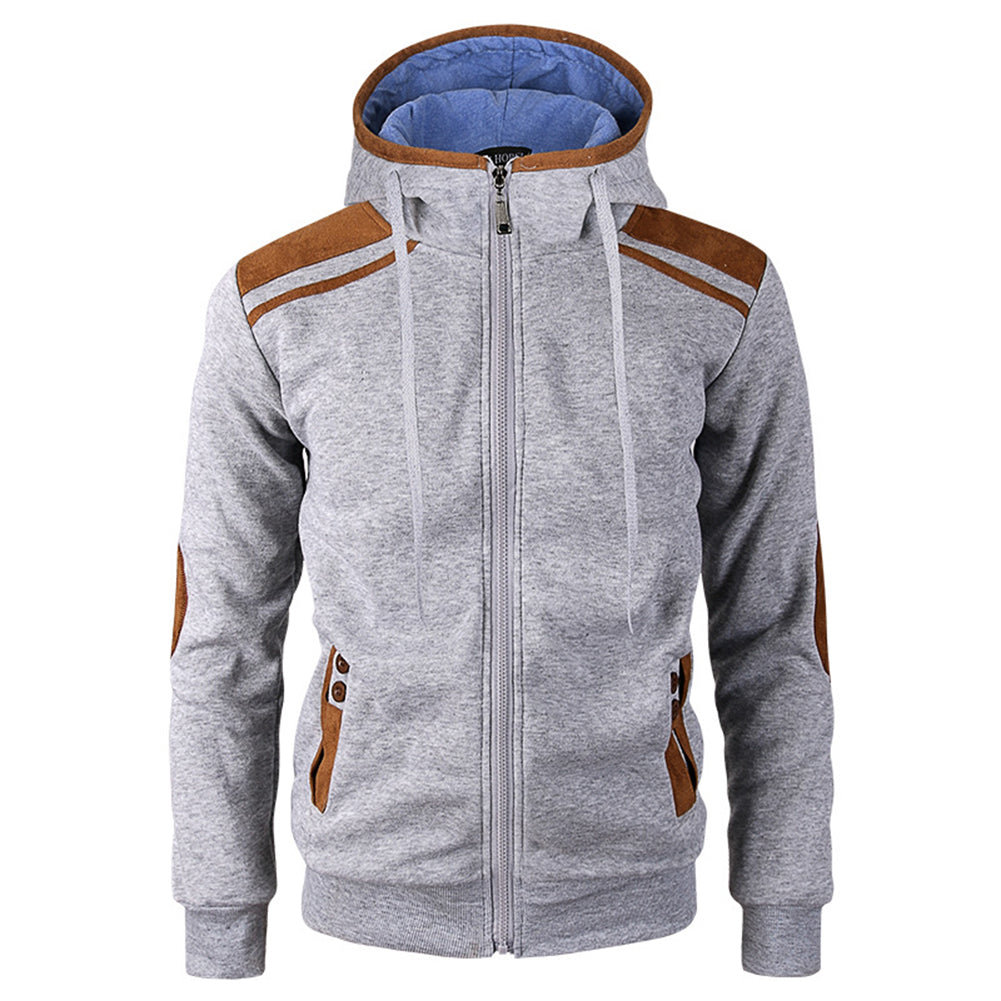 Casual Men Long Sleeve Jacket Coat Faux Deerskin Patchwork Hooded Sweatshirt