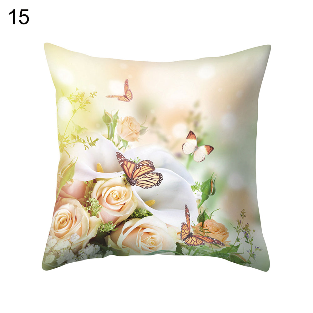 Flower Butterfly Pillow Case Cushion Cover Sofa Bed Car Cafe Office Decoration
