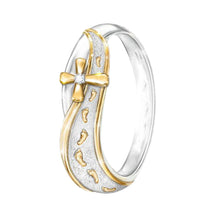 Load image into Gallery viewer, Fashion Dual Color Footprints Cross Sign Rhinestone Women Finger Ring Jewelry