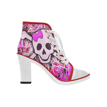 Load image into Gallery viewer, pink skull and crossbone graffitti Women's Canvas Lace Up Chunky Heel Ankle Boots