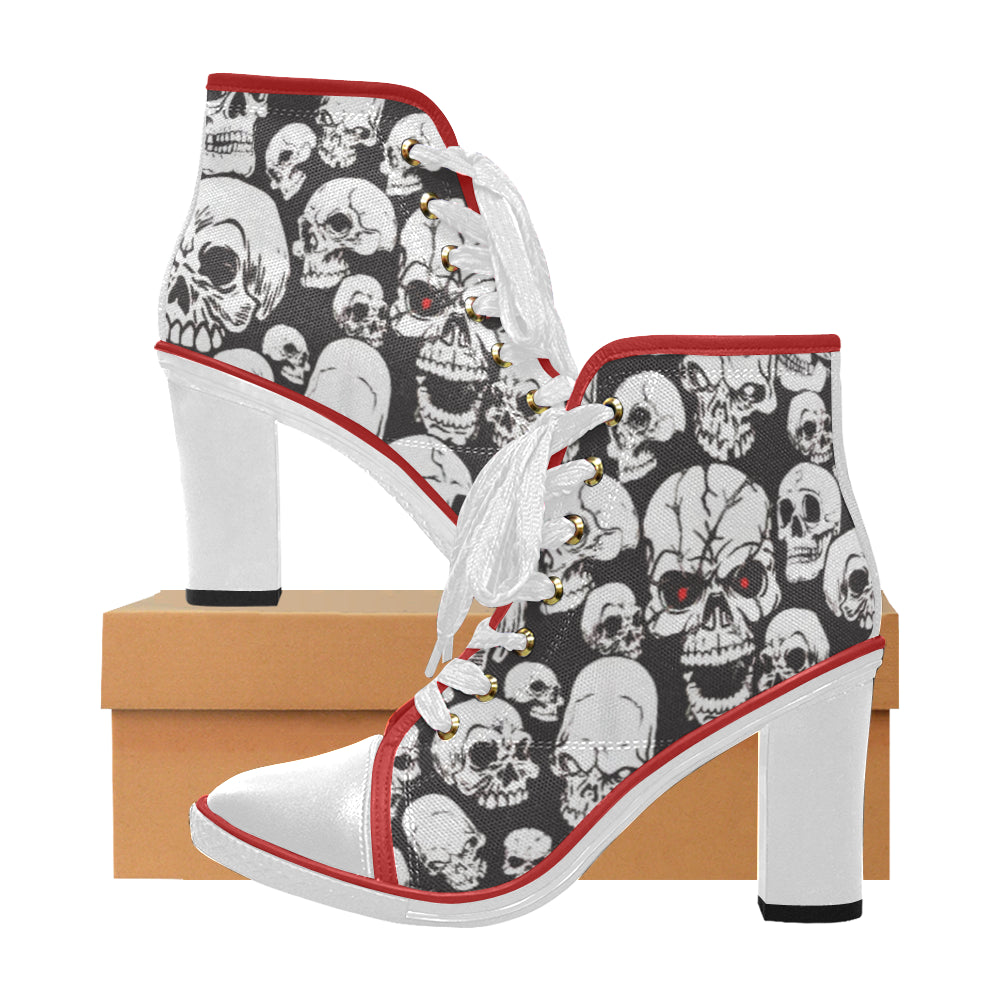 skulls Women's Canvas Lace Up Chunky Heel Ankle Boots