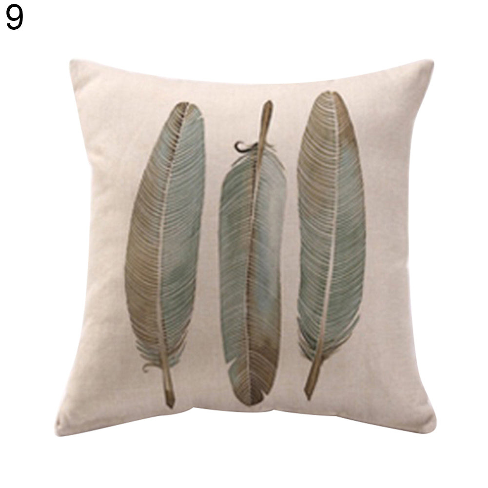 Feather Print Throw Pillow Case Linen Cushion Cover Modern Home Sofa Decoration