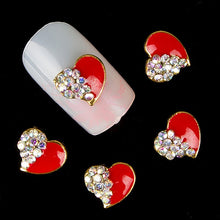 Load image into Gallery viewer, 10Pcs Red Love Heart Glitter Rhinestones Alloy 3D Nail Sticker Art DIY Decor