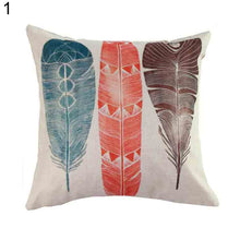 Load image into Gallery viewer, Feather Print Throw Pillow Case Linen Cushion Cover Modern Home Sofa Decoration