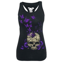 Load image into Gallery viewer, Women Summer Fashion Skull Print Sleeveless Slim Fit Hollow Out Tank Top Vest