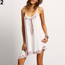 Load image into Gallery viewer, Women Summer Floral Printed Spaghetti Strap A-Line Asymmetrical Hem Short Dress