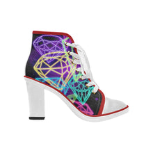Load image into Gallery viewer, diamond design Women's Canvas Lace Up Chunky Heel Ankle Boots