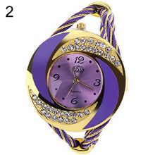 Load image into Gallery viewer, Women Fashion Spiral Round Rhinestone Braid Bangle Cuff Analog Quartz Bracelet Watch