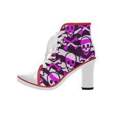 Load image into Gallery viewer, pink skull and cross bones Women's Canvas Lace Up Chunky Heel Ankle Boots